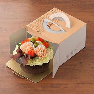 ケーキの箱に入れてお届けします。