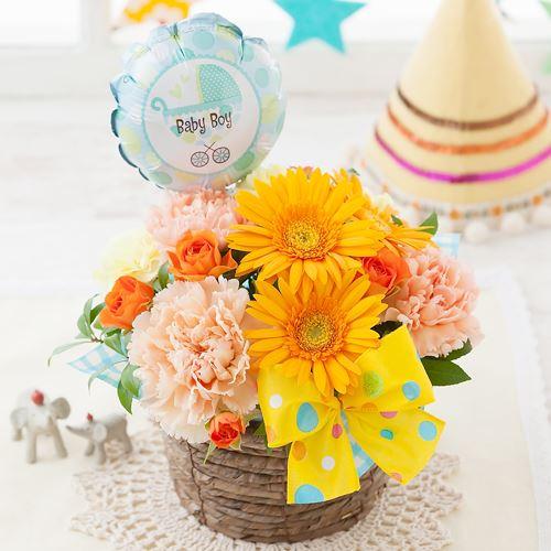 アレンジメント「初めての贈り物〜baby boy〜」