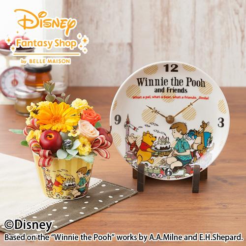<千趣会イイハナ> 【ディズニーのフラワーギフト】プリザーブドセット「くまのプーさんの陶時計」