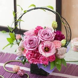 母の日 アレンジメント「紫艶〜癒しのひと時〜」