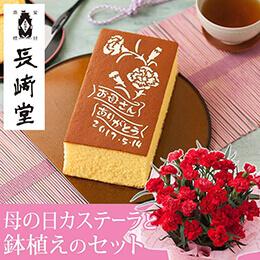 母の日 鉢植えセット「長�ア堂 母の日カステーラ〜オリジナル刷り込み入り〜」
