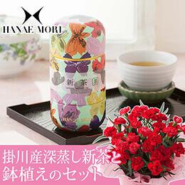 母の日 鉢植えセット「丸山製茶 掛川産深蒸し新茶〜HANAE MORI缶〜」