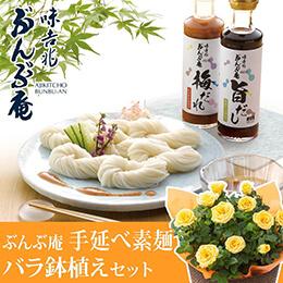 父の日 バラ鉢植えセット「味吉兆 ぶんぶ庵 手延べ素麺セット」