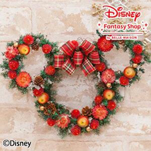 ディズニー ドライフラワーリース「クリスマス ミニー」