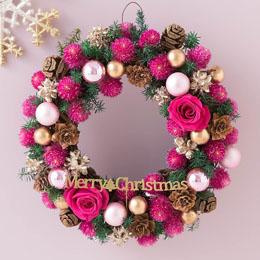 プリザーブド&ドライフラワー「リース Berryクリスマス=Cute Pink=」