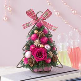 プリザーブド&ドライフラワー「ツリーアレンジ Berryクリスマス=Cute Pink=」