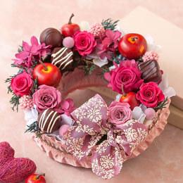 プリザーブドフラワー「デリシャスリース〜アップル&チョコレート〜」