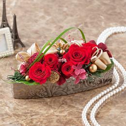 プリザーブドフラワー「ブリリアント・クリスマス〜真紅のバラ〜」