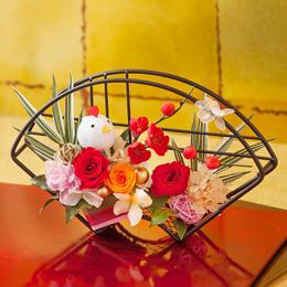 お正月 プリザーブドフラワー「祝扇〜まんまる酉(とり)飾り〜」