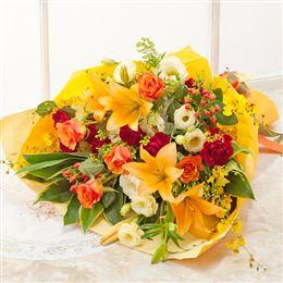 花束「シャイニー・オランジェ」