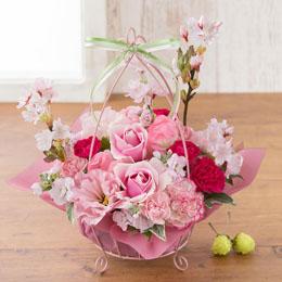 【最速で翌日配送対応】アレンジメント「Cherry Pink=桜の時=」