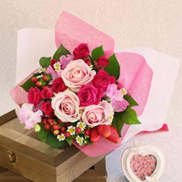 【最速で翌日配送対応】花束「Strawberry bouquet」