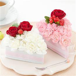 e87.com(千趣会イイハナ)【最速で翌日配送対応】アレンジメント「フラワーケーキ=ピンク&ホワイト=」