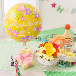 EXアレンジメント「ぷわぷわバルーン〜Congratulations&フラワーケーキ〜 」