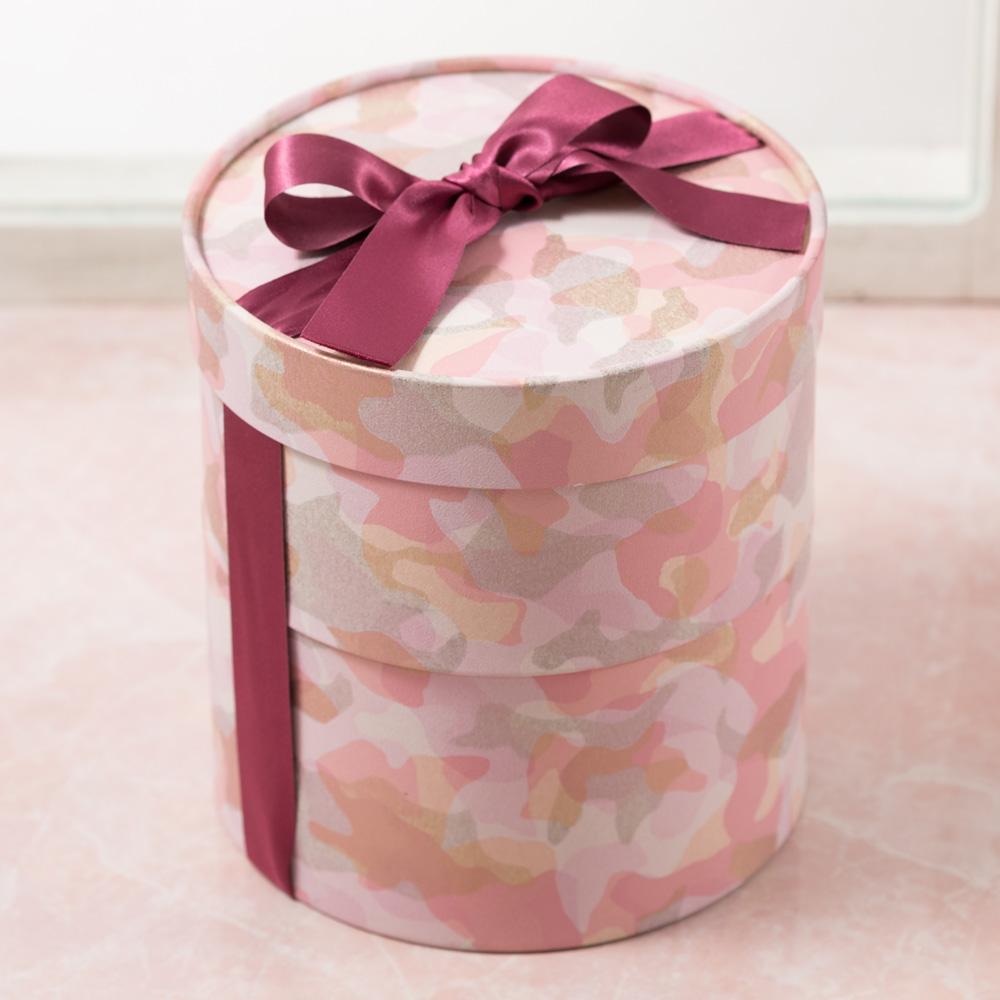プリザーブドセット「シークレットボックス バラ咲き桃のタルト」
