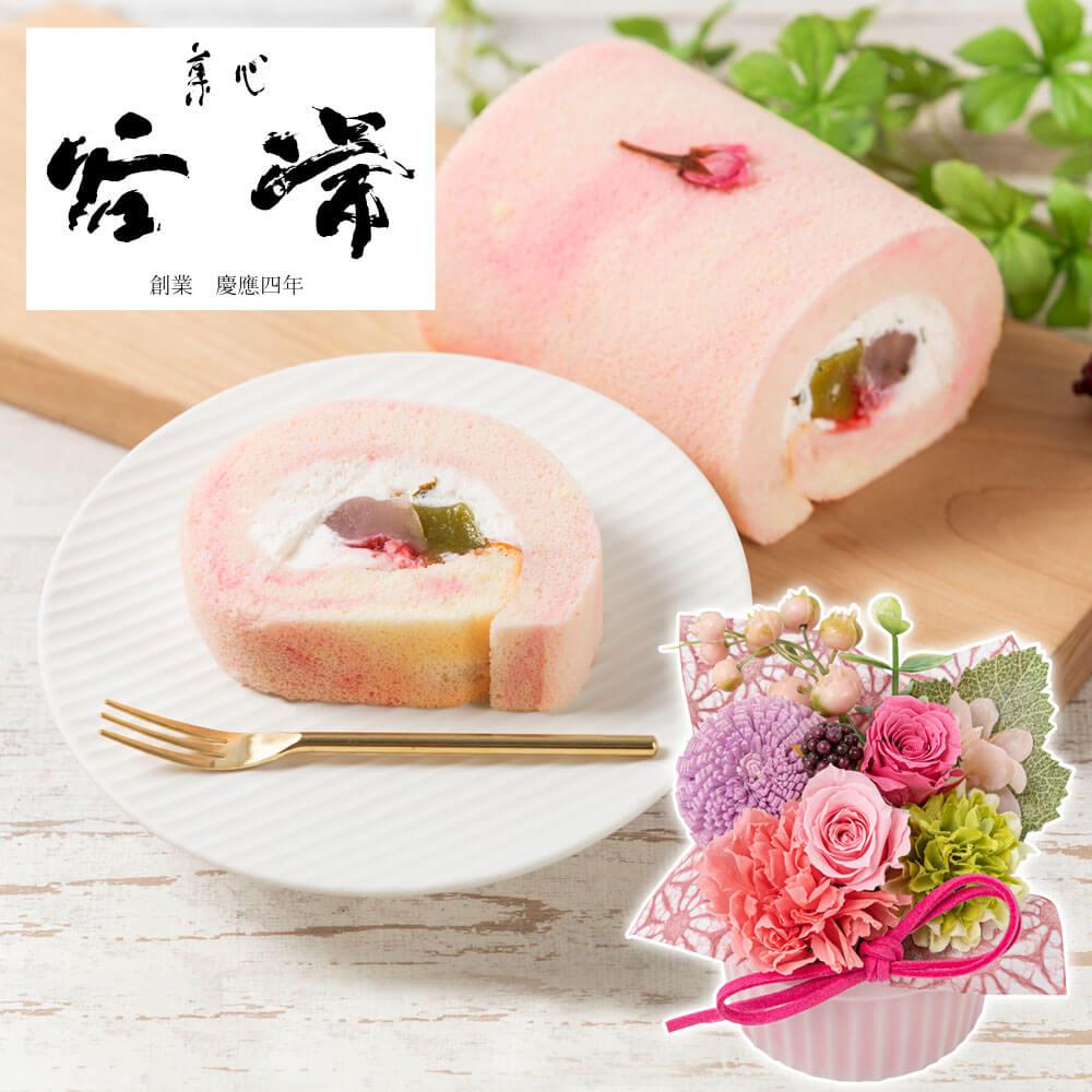 e87.com(千趣会イイハナ)母の日 花 ギフト プリザーブドセット「菓心 谷常 桜ロール」