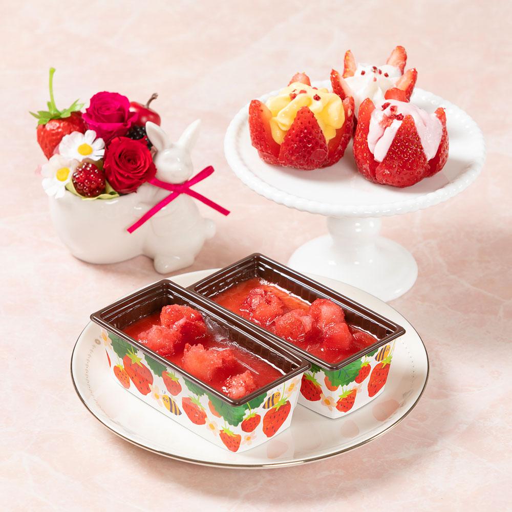 母の日 花 ギフト プリザーブドセット「博多あまおう花いちごのアイス&苺のカタラーナ」