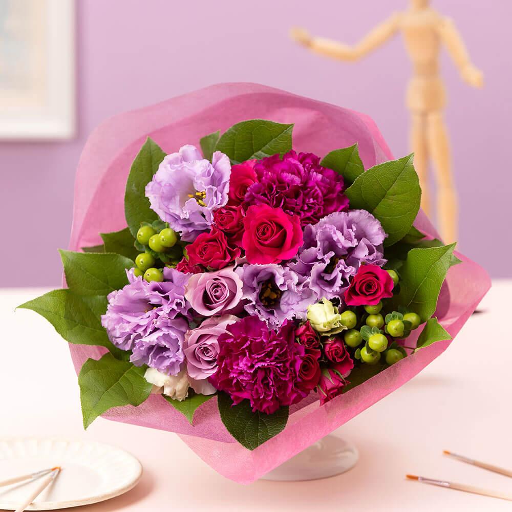母の日 花 ギフト 花束「エレガンス パープル ブーケ」
