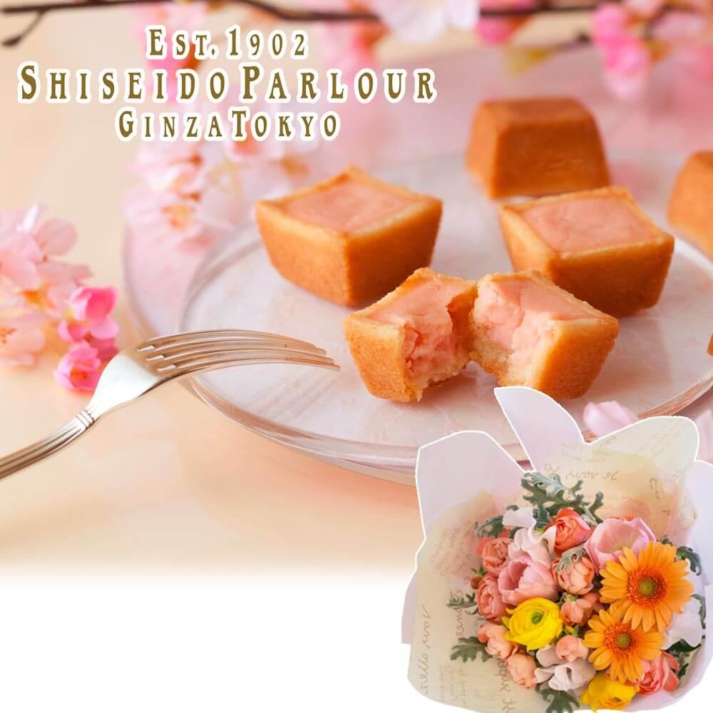 花束セット「資生堂パーラー 春のチーズケーキ(さくら味)」