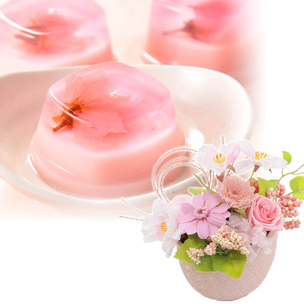 プリザーブドセット「つるや製菓 都留屋 桜プリン」