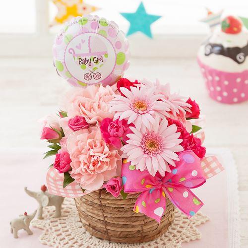EXアレンジメント「初めての贈り物〜baby girl〜」