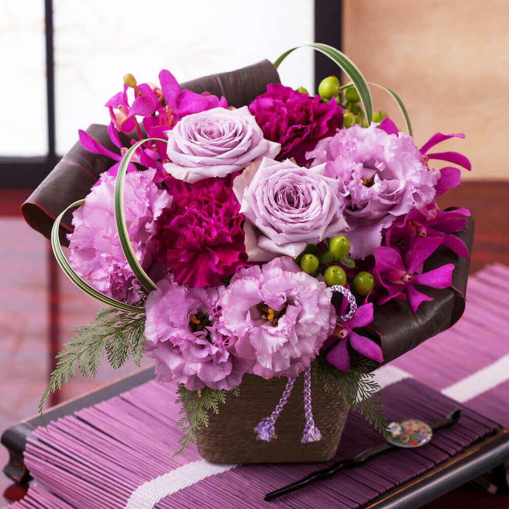 EXアレンジメント「和花の贈り物〜紫(ゆかり)〜」