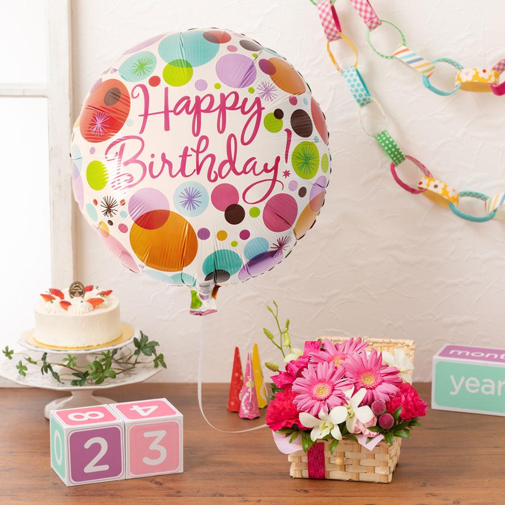 【最速で翌日配送対応】アレンジメント「ぷわぷわバルーン=Happy Birthday=pink」