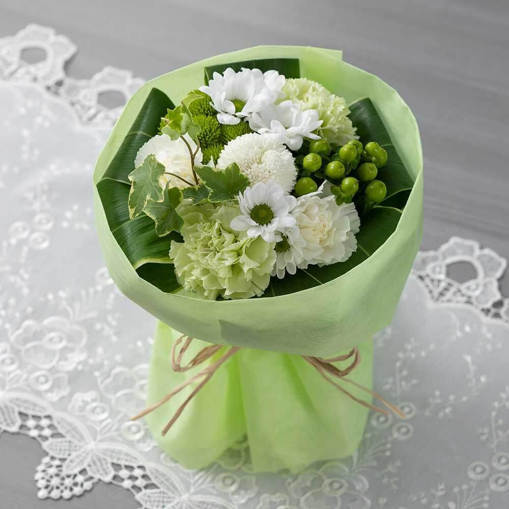 花束「優美花(そのまま飾れるお悔み花束)白」