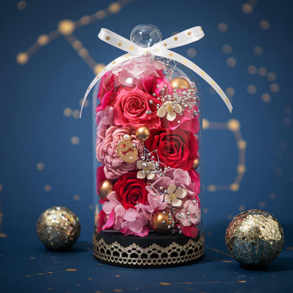 蟹座の方へ贈りたい星座石をイメージしたプリザーブド|プリザーブドフラワー「エトワールドーム〜蟹座〜」|イイハナ・ドットコム|宝石の女王とも呼ばれるルビー色のバラ|フラワーギフト、花、お祝い、誕生日、記念日、結婚、プレゼント、贈り物、送別、お見舞い、お返し、出産