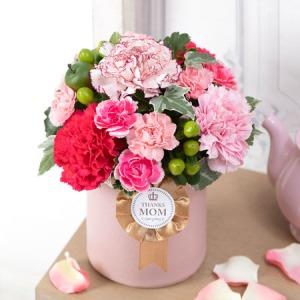 母の日 アレンジメント「ロゼット〜Thanks Mom〜Pink」