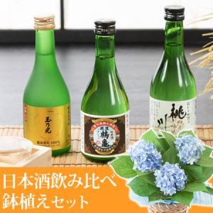 父の日 アジサイ鉢植えセット「厳選酒処 日本酒飲み比べセット」