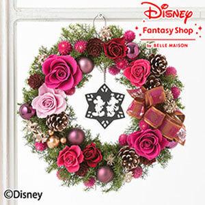 ディズニー プリザーブド&ドライフラワーリース「エレガントクリスマス」