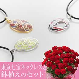 母の日 鉢植えセット「畠山七宝製作所 東京七宝ネックレス」
