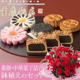 母の日 鉢植えセット「重慶飯店 番餅・中華菓子詰合せ」