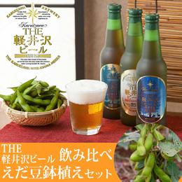 父の日 枝豆鉢植えセット「THE軽井沢ビール 飲み比べ」