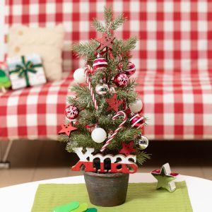 ミニツリーセット「ハッピーレッド・クリスマス」55cm(LEDライト付き)