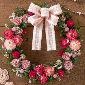 EXドライフラワー「リース〜ロマンティック・ピンク〜」