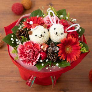 花束「サンタのクマさんとウサギさん」