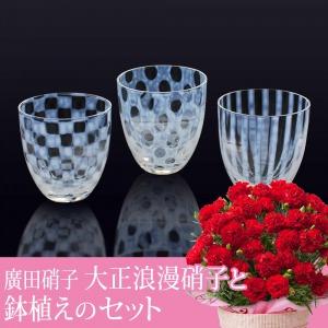 母の日 鉢植えセット「廣田硝子 大正浪漫硝子」