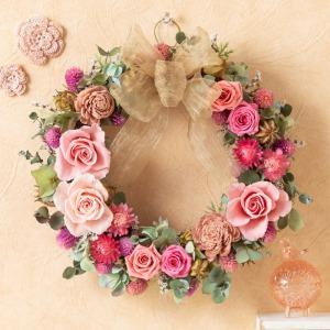 母の日 ドライフラワー「ロマンティック・ピンクリース〜幸せを願って〜」