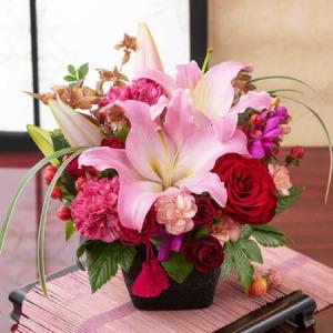 敬老の日 アレンジメント「和花の贈り物〜茜〜」