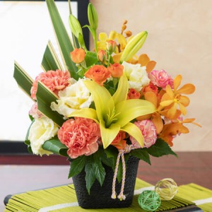 敬老の日 アレンジメント「和花の贈り物〜山吹〜」