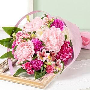 母の日 花束「芍薬美人〜三色重ね〜」