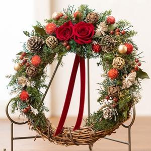 プリザーブド&ドライフラワー「リース Christmas Red」