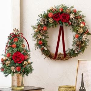 プリザーブド&ドライフラワー「リース・ツリーペアセット Christmas Red」