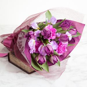 EX花束「エレガント・パープル〜Purple Tulips〜」