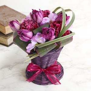 EXアレンジメント「エレガント・パープル〜Purple Tulips〜」