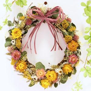 ドライフラワー「陽だまり〜春色のハッピーリース〜」