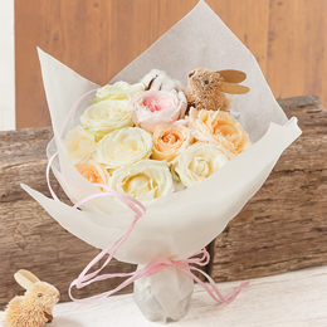 デザイナー岩橋さん花束「Rabbit and Pink ribbon〜幸せをつめこんで〜」S