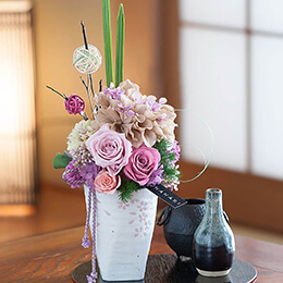 EXプリザーブドフラワー「慶びの舞〜和やかベージュピンク〜」